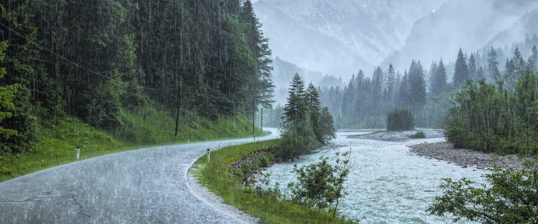 Rainy day on a curvy road