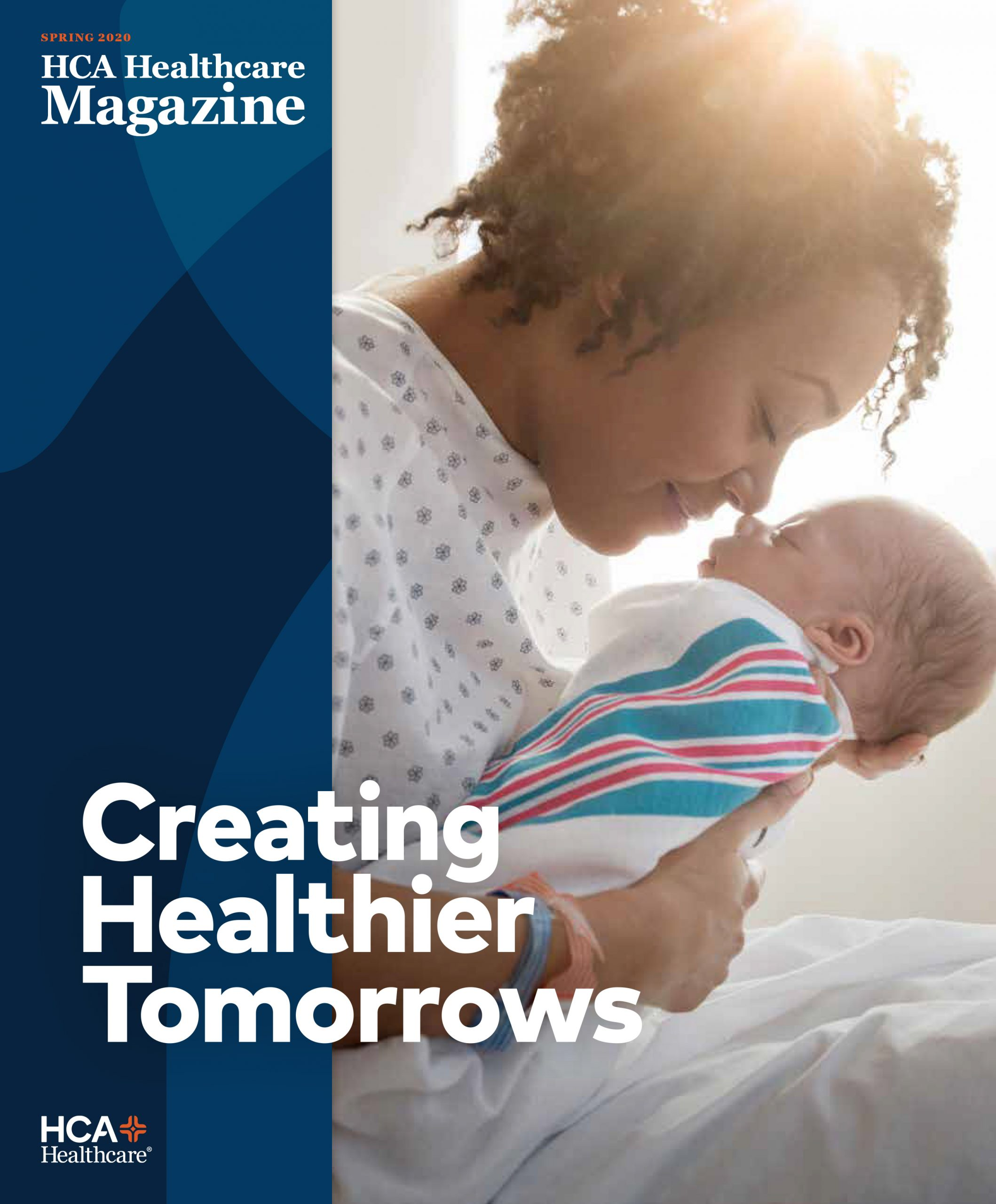 cover image of Spring 2020 issue of HCA magazine of a new mother holding a baby