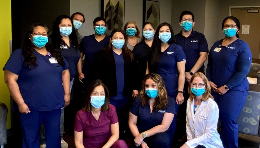 Pictured: Maria Lucio, Medical Assistant; Jessica Morales, Medical Office Specialist; Manuel Vogt, DO, Physician; Belle Soto, Medical Office Specialist; Dina Goytia-Leos, MD, Physician; Diana Alegria, Medical Assistant; Charlotte Lewis, Phlebotomist; Sandra Garcia, Medical Office Coordinator; Liz Mendoza, Medical Office Specialist; Donna Gonzalez, Medical Office Specialist; Roxy Rangel, Medical Assistant; Jonathan Moreno, Practice Manager; Cheryl Collins, MSN, ANP-BC, FNP-C, Nurse Practitioner; LaJerrica Vann, Medical Assistant