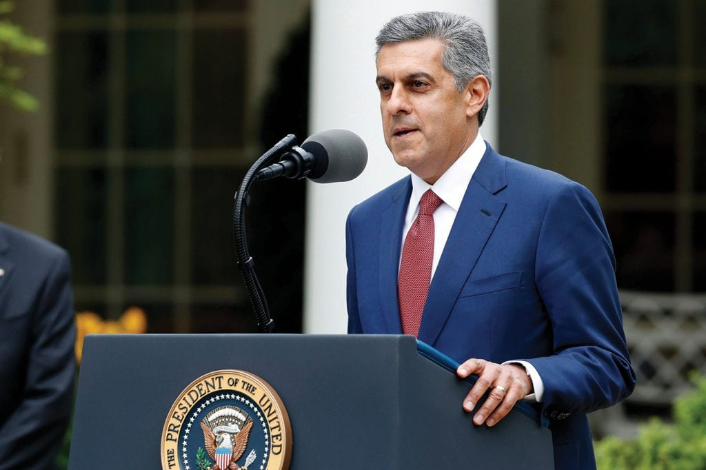 HCA Healthcare CEO Sam Hazen took part in a White House briefing with President Trump on April 14 to announce the launch of the Dynamic Ventilator Reserve.