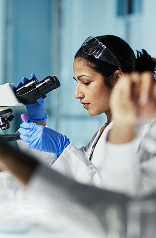 Scientist Working on Computer In Modern Laboratory